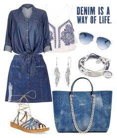 """""""Denim Is A Way Of Life"""" by tammy-gardner ❤ liked on Polyvore featuring River Island, Steve Madden, GUESS, Christian Dior, Lizzy James and denim"""