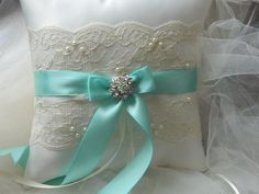 Wedding Ring Bearer Pillow tiffany And Ivory Satin And Lace Ringbearer | GartersByMarasa - Wedding on ArtFire