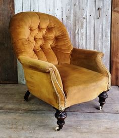 French yellow velvet tub chair.