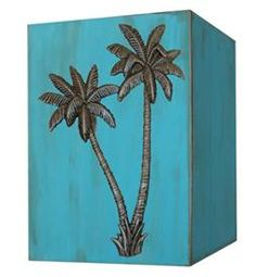 Hand-Painted #Turquoise Box with Palm Trees @classiclegacy