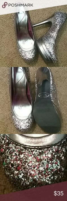39ee6ff53ce Multi colored Glitter High Heels Very flashy and fabulous Baby Phat heels  with logo clear on