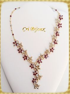 gold fuchsia crystal flower cascade necklace for sale - Flores Beaded Necklace Patterns, Beaded Jewelry Designs, Handmade Beaded Jewelry, Seed Bead Jewelry, Bead Jewellery, Bracelet Patterns, Beaded Earrings, Beaded Bracelets, Collar Floral