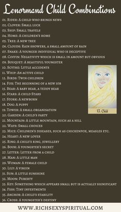 Lenormand Child combination cheat sheet for beginners. Can be used with any card deck and as a reference for when you're learning the meanings and as a reference if you're still coming up with your own Child combinations.