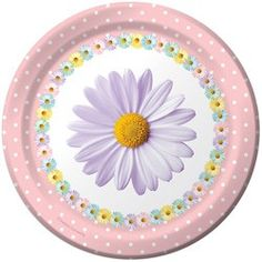 Daisy Dessert Plates - 7in (8 Pack)