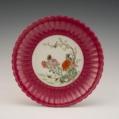 Chinese Qing porcelain shallow dish, with flori-form lobed pattern radiating the rounded rim, central cavetto decorat. Peony, Reign, Script, Period, Porcelain, Chinese, Pottery, Characters, Plates