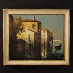 850€ Signed painting depicting Venice glimpse with gondola Visit our website www.parino.it #antiques #antiquariato #painting #art #antiquities #antiquario #canvas #oiloncanvas #landscape #quadro #dipinto #arte #tela #decorative #interiordesign #homedecoration #antiqueshop #antiquestore #venice #gondola