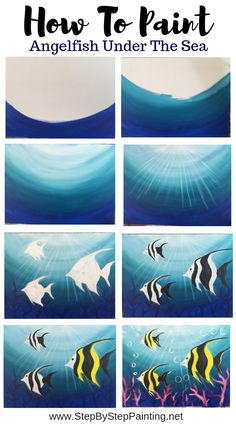 How To Paint Angelfish This easy acrylic canvas painting tutorial is great for beginners! You can learn how to paint angelfish under the sea. You can also create your own customized under the sea ocean painting by changing the fish to other sea creatures. Canvas Painting Tutorials, Easy Canvas Painting, Simple Acrylic Paintings, Acrylic Canvas, Painting & Drawing, Canvas Art, Panda Painting, Pour Painting, Painting Techniques