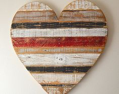 Medium rustic striped turquoise heart beach  wall decor