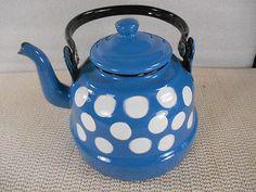 Vintage-Turquesa-Azul-portador-de-W-Blanco-A-Lunares-te-Tetera-Tetera-Retro