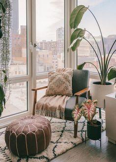 Brooklyn Room Transformation!   #livingroom #decorinspo #midcenturymodern #boho #houseplants #plants #cozy #nook #shagrug #readingcorner #interiordecorating #nycapartment #apartmentstyle #smallspace #homeandgarden #mydomaine #birdofparadise #redecorating #roomtransformation #livingroomstyle #nychome #bloggerhome