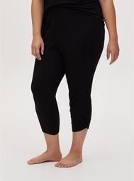 Black Ruched Crop Sleep Pant