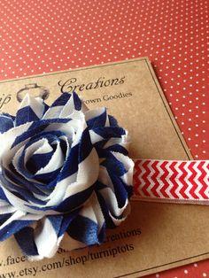 4th of July Shabby Flower Headband Blue White Stripes on Red Chevron Fourth of July on Etsy, $4.25