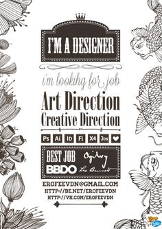 CV Design illustré - straight to the point and in your face. uses his skills in drawing and possibly illustrator, no written explanation of education etc, could be self taught and uses his skills in his CV to attract the attention of the manager or person in charge
