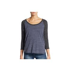 James Perse Heathered Raglan Tee ($50) ❤ liked on Polyvore featuring tops, t-shirts, navy, heather t shirt, cotton t shirt, 3/4 sleeve tee, cotton tee and scoop neck tee
