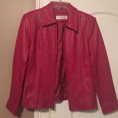 Red Leather jacket Very nice.  Like new.  Worn maybe 3 times. Jones New York Jackets & Coats Blazers