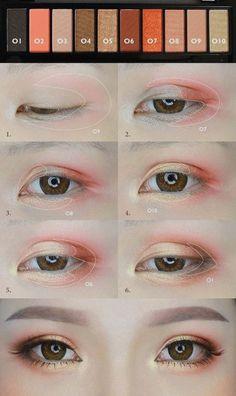 Orange Makeup Tutorial von mollyeberwein - Make Up Ideen - Eye-Makeup Korean Makeup Tips, Korean Makeup Look, Korean Makeup Tutorials, Asian Eye Makeup, Korean Beauty, Make Up Geek, Make Up Tools, Cute Makeup, Beauty Makeup