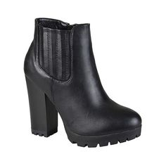 Journee Collection Women's Suri Stacked Heel Lug Sole Booties - Black ($40) ❤ liked on Polyvore featuring shoes, boots, ankle booties, black, black bootie, black ankle boots, leather booties, leather boots and leather bootie