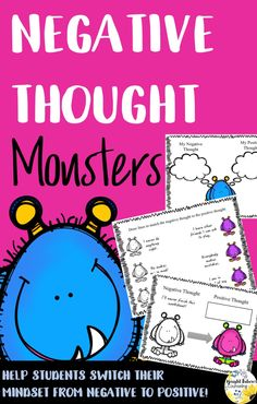 Negative Thought Monsters helps students change their mindset from positive to negative. Elementary School Counseling, School Social Work, School Counselor, Elementary Schools, Counseling Activities, Therapy Activities, Anxiety Activities, Group Counseling, Youth Activities