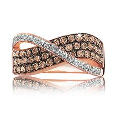 Champagne & White Diamond Crossover Ring 1ct. T.W.
