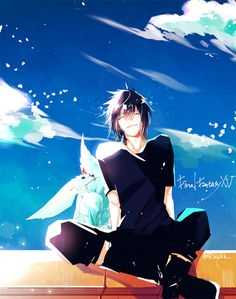 Final Fantasy XV Noctis and Carbuncle Final Fantasy Xv, Final Fantasy Artwork, Fantasy Series, M Anime, Anime Guys, Anime Style, Character Art, Character Design, Noctis Lucis Caelum