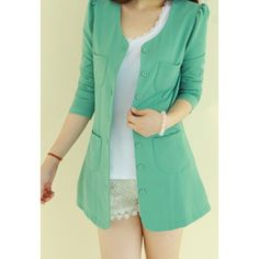Casual Style Scoop Neck Candy Color Puff Sleeve Cotton Women's Coat - $13.17