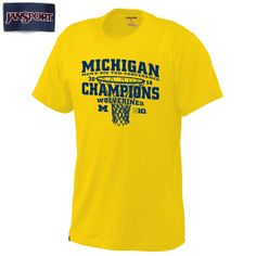 JanSport University of Michigan Basketball Big Ten Conference Champions Yellow Tee