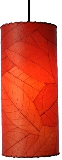 "Cocoa Leaf Drum Pendant Light Red 7""W"