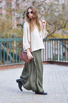 my fav look - sweater, long skirt