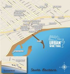 Map of Wineries on the Santa Barbara Urban Wine Trail