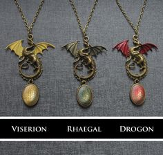 Game of Thrones Daenerys' dragon and egg necklace by Spookyisland