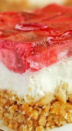Strawberry Pretzel Dessert ~ A classic at our house! Make it gluten free with gluten free pretzels.   easy summer dessert recipe