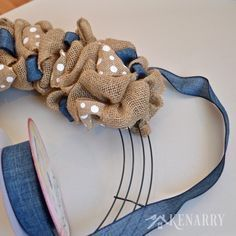 Love this denim and dots burlap wreath tutorial! Its an easy DIY craft using two different accent ribbons to create beautiful home decor. - Crafts All OverBurlap Wreath Tutorial Denim and Dots Cottage Decor is part of DIY crafts Useful - This burlap Burlap Projects, Burlap Crafts, Wreath Crafts, Diy Wreath, Decor Crafts, Wreath Making, Wreath Ideas, Deco Mesh Wreaths, Fall Wreaths