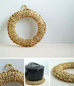 wrap straw or burlap around a wreath form...make a neat trivet or an awesome wreath for a beachy feel!