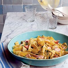 Pappardelle with Salmon and Peas in Pesto Cream Sauce