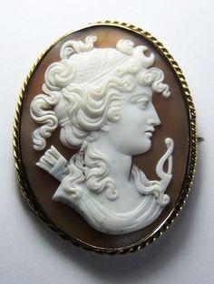 Amazing Antique Victorian 14k Gold Shell Cameo Brooch Pin Diana Goddess C1860 | eBay