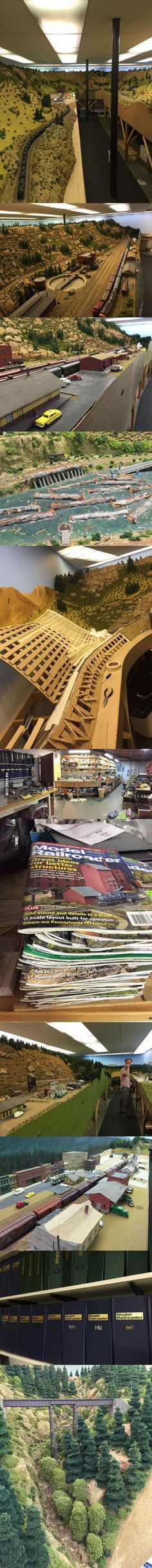 A grandfather turned his basement into a working model railroad
