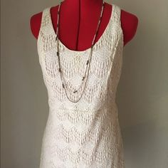 "Crochet Summer Dress Sundress size Medium Belt loops. Crochet look. ""Off white/cream"" Back zipper. Length:34' Bust:16' Charlotte Russe Dresses Mini"