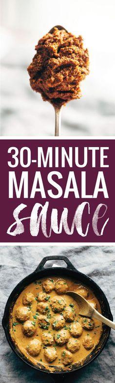 30 Minute Masala Sauce! made with onions, garlic, turmeric, cumin, chili powder, lemon juice, cilantro, tomato puree, and coconut milk. Perfect sauce for veggie / chicken tikka masala, or meatballs! Vegetarian / Vegan.| pinchofyum.com