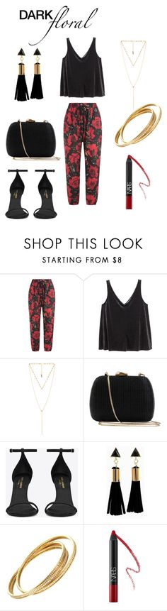 """Dark Floral Contest -Pants"" by lolouise ❤ liked on Polyvore featuring Anna Sui, H&M, Luv Aj, Serpui, Yves Saint Laurent, Cartier and NARS Cosmetics"