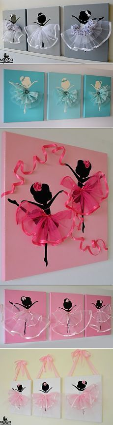 Идея прелестного панно с балеринками                                                                                                                                                      More