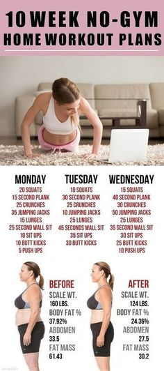 10 Week No-Gym Home Workout Plans – 18aims #fitnessworkouts