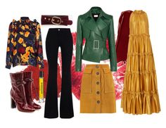 A fashion look from November 2017 featuring tiered maxi dress, flower print blouse and green motorcycle jacket. Browse and shop related looks. Malone Souliers, Thierry Mugler, Stella Mccartney, Ann Taylor, Amber, Pearl, Leather Jacket, Autumn, Shoe Bag