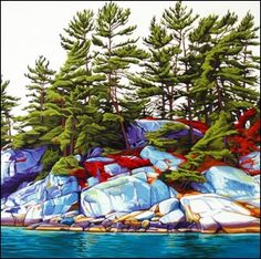 Island Fraser Bay ~ by Margarethe Vanderpas, Canada Canadian Painters, Canadian Artists, Landscape Art, Landscape Paintings, Landscapes, Nature Artists, Polychromos, Sculpture, Artist Art
