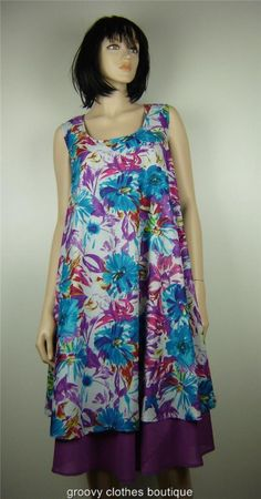 Retro Print Cotton  FESTIVAL Beachwear Layered Dress Sz 12 - 20 Au