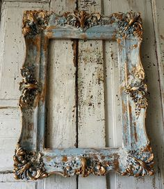 Distressed wood gesso picture frame shabby by AnitaSperoDesign