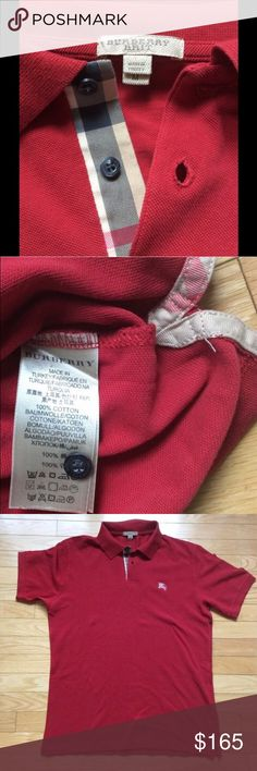 ✨AUTHENTIC BURBERRY RED MEN'S MED POLO T-SHIRT. ✨ ✨AUTHENTIC BURBERRY RED MEN'S MEDIUM POLO T-SHIRT. NEVER WORN, PRISTINE CONDITION. , Tags were removed only to wash prior to wearing . Signature Burberry detail lining through shirt . 100% COTTON. Made in Turkey. Also available in Beige ! Burberry Shirts Polos