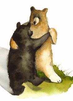 porte cartes-5 cartes vierges-« Valse » danse des ours, romance, enfants, humour, woodland
