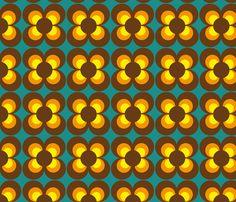 Retro Flower brown orange yellow fabric by heimatkinder on Spoonflower - custom fabric