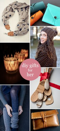 DIY Gifts for Her   Accessories, home decor, kitchen utensils and a cool way to organize cords. Lots of options for the ladies on your list!