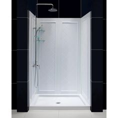 Dreamline Qwall 5 36 In X 48 76 3 4 Standard Fit Shower Kit White With Base And Back Wall Center Drain